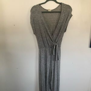 Caution to the wind grey heather jumpsuit
